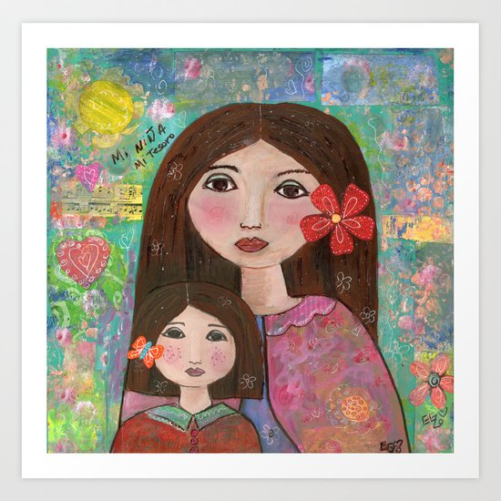 Mom and Daughter  Art Print