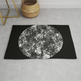 Silver Moon - Abstract, textured silver foil lunar design Rug
