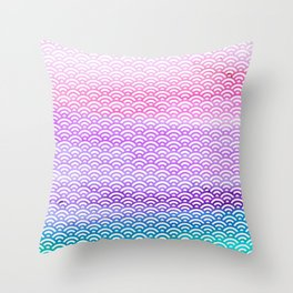 Candy Pop Watercolor Seigaiha Pattern Throw Pillow