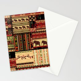African motifs . Patchwork Stationery Cards
