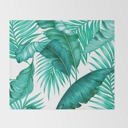 HAWAIIAN GARDEN TROPICAL LEAVES | turquoise white Throw Blanket