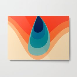 Retro 80s 70s Blue and Orange Mid-Century Minimalist Abstract Art Water Drop Metal Print