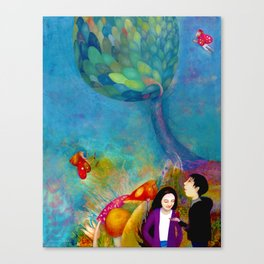 Children in the faery land illustration Canvas Print