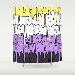 Cute Pride Pastel Melting Pride Design, Non Binary flag Shower Curtain
