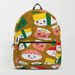 pattern Kawaii funny sushi set with pink cheeks and big eyes, emoji on brown mustard background Backpack