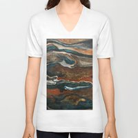 "geology V-neck T-shirts featuring ""stratify"" abstract watercolor and gouache painting by Carol Farnum Art"