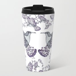 Blossom Humming Bird Pattern Metal Travel Mug