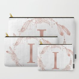 Letter I Rose Gold Pink Initial Monogram Carry-All Pouch