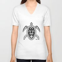 tortoise V-neck T-shirts featuring Tortoise by ceceï