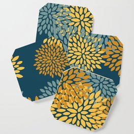 Modern Flowers Print, Dark Teal and Yellow Coaster