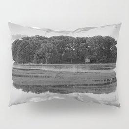 Annisquam river reflections Black and White Pillow Sham