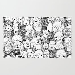 just alpacas black white Rug