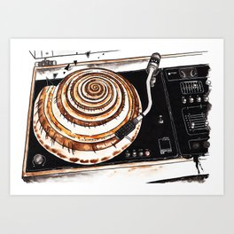 Vinyl record player with seashell Art Print