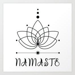"Lotus flower outline with Hindu traditional greeting ""Namaste"" Art Print"