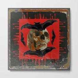 GRUNGY HALLOWEEN BAT INFESTED HAUNTED SKULL Metal Print