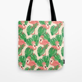 Flamingo in Tropical Forest Tote Bag