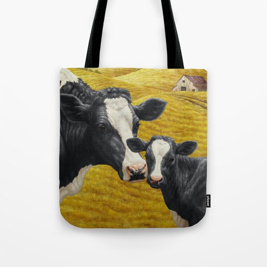 Holstein Cow and Cute Calf Tote Bag