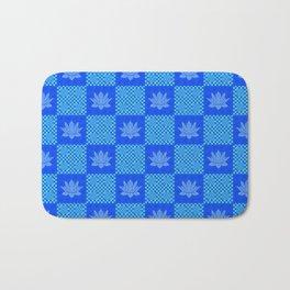 Retro Blue Lotus Checkerboard Bath Mat