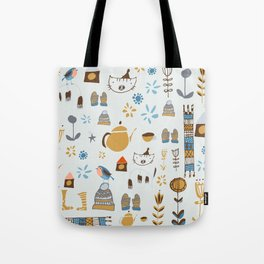 hygge cat and bird gray Tote Bag