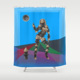 Sexy pump 1. On multicolored background. (Predominance of light blue) Shower Curtain