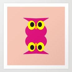 CVAn0051 Pink Owl Twins Art Print
