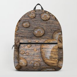 Water Drops on Wood 3 Backpack