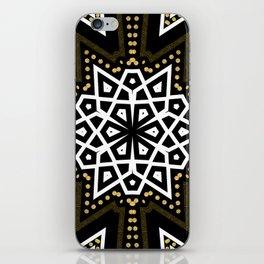 Black White + Gold Geometric Star iPhone Skin