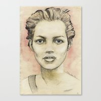 kate moss Canvas Prints featuring Kate Moss by Matthäus Rojek