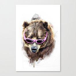 Cool shy bear Canvas Print