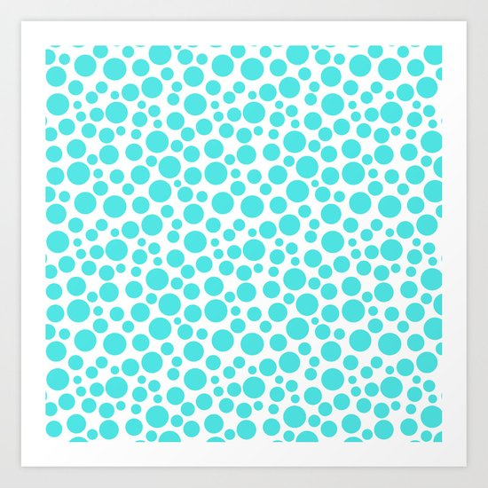 Turquoise polka dots on a white background . Art Print