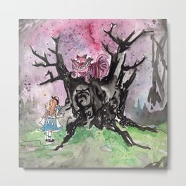 Alice & the Cheshire Cat Metal Print