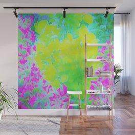 Vivid Yellow and Pink Abstract Garden Foliage Wall Mural