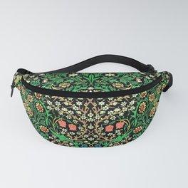 William Morris Jacobean Floral, Black Background Fanny Pack