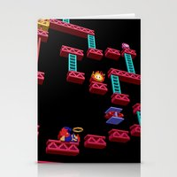 donkey kong Stationery Cards featuring Inside Donkey Kong stage 3 by Metin Seven