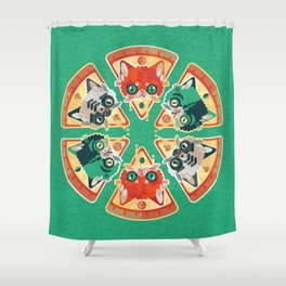 Pizza Slice Cats  Shower Curtain