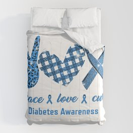 Peace Love Cure Leopard Diabetes Awareness Survivors Gifts T-Shirt Comforters