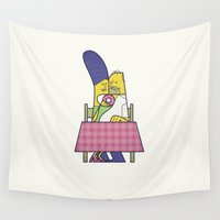 cartoons Wall Tapestries featuring You are the sweetest thing by Ale Giorgini