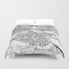 Rotterdam White Map Duvet Cover