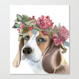 Dog with flower crown Canvas Print
