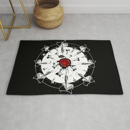 Abstract installation on the theme of darts. Rug