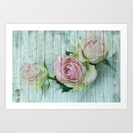 Vintage Shabby Chic Pink Roses On Wood Art Print