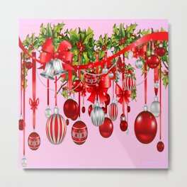 RED HOLIDAY ORNAMENTS FLORAL ART Metal Print