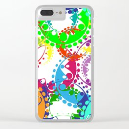 Texture of bright colorful gears and laurel wreaths in kaleidoscopic style. Clear iPhone Case