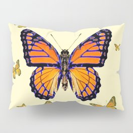 SPRING FLYING ORANGE MONARCH BUTTERFLIES ON CREAM Pillow Sham