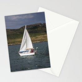Yacht 238 sailing from Howth, with Irelands Eye in the background Stationery Cards