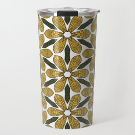 Hand Drawn Yellow Flower & Green Leaves Pattern Travel Mug