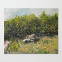 pallets bench in summer  Canvas Print
