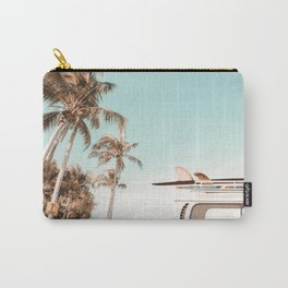 Retro Camper Van with Surfboard at the Beach Carry-All Pouch