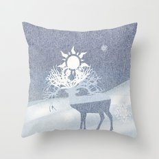a deer with nine horns is bringing back the sun~ illustration  Throw Pillow