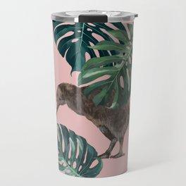 Kiwi Bird with Monstera in Pink Travel Mug